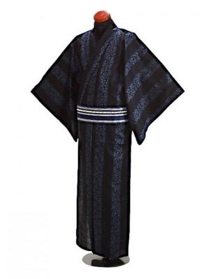 浴衣 男性 Lサイズ Y121 黒紺紗綾形
