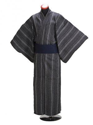 浴衣 男性 Lサイズ Y104 グレー/縞 しじら織