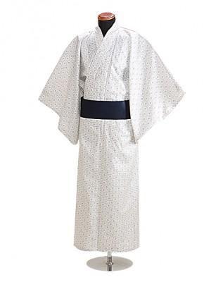 浴衣 男性 Mサイズ Y114 白地亀甲柄