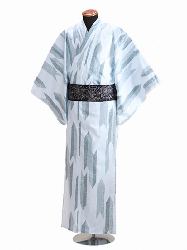 浴衣 男性 LLサイズ Y109 グレー/矢柄