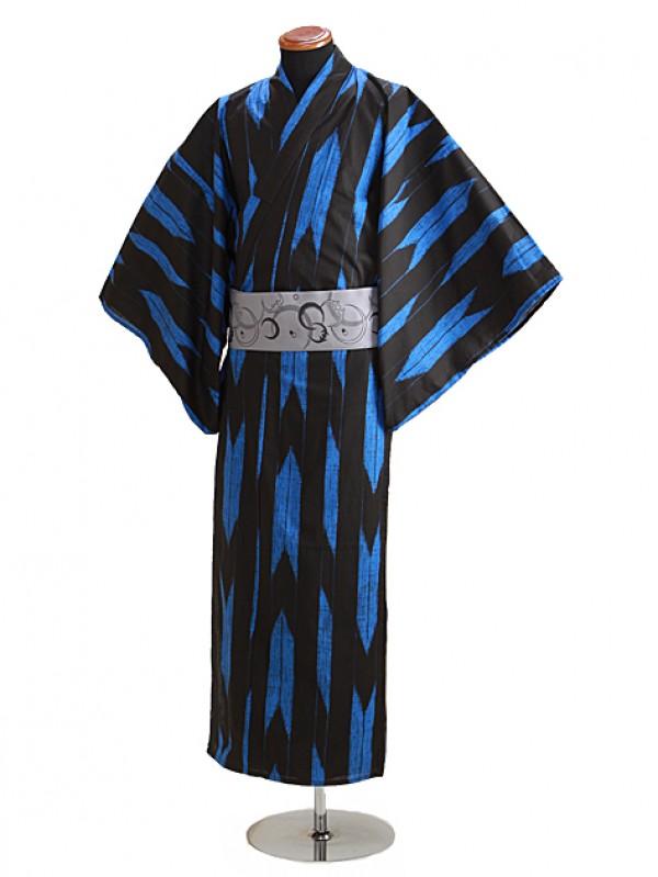 浴衣 男性 Lサイズ Y110 黒地/青矢柄