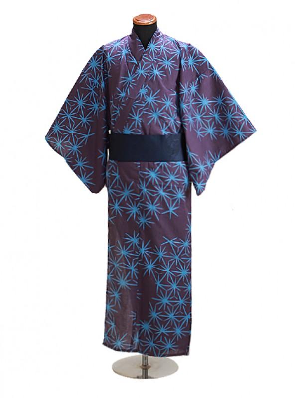 浴衣 男性 Mサイズ Y112 紫系麻葉