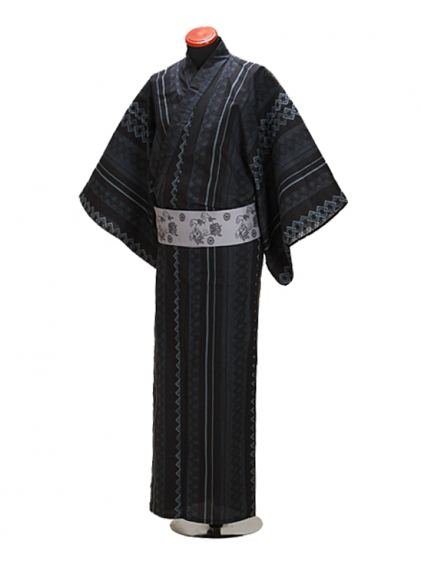 浴衣 男性 LLサイズ Y106 黒グレー/吉原つなぎ