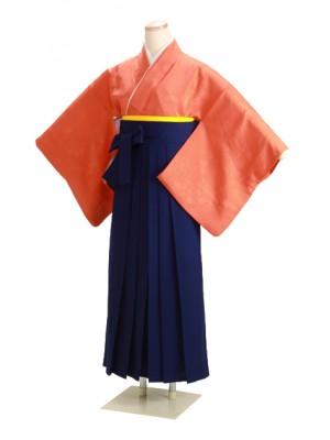 卒業式袴 正絹 オレンジ DD21 花紺袴【身長155cm位】
