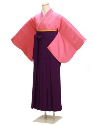 卒業式袴 無地 濃ピンク DD61 紫袴【身長160cm位】