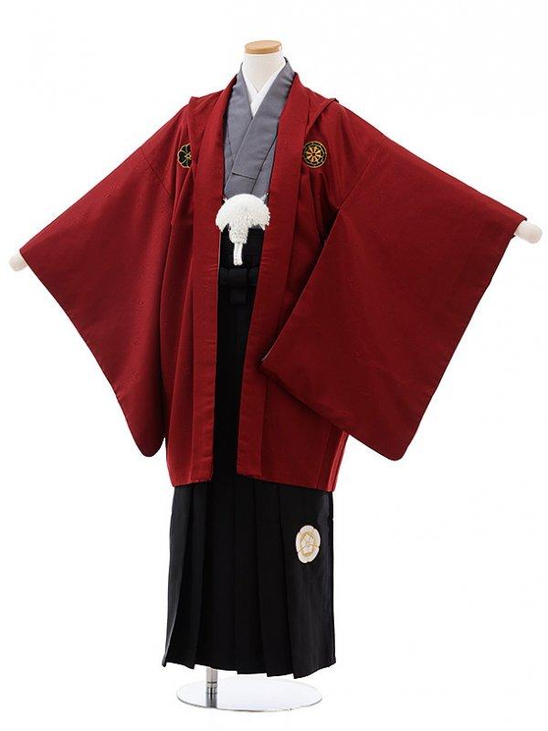 ジュニア袴男児J003 KukkaBOY エンジ紋付×黒袴