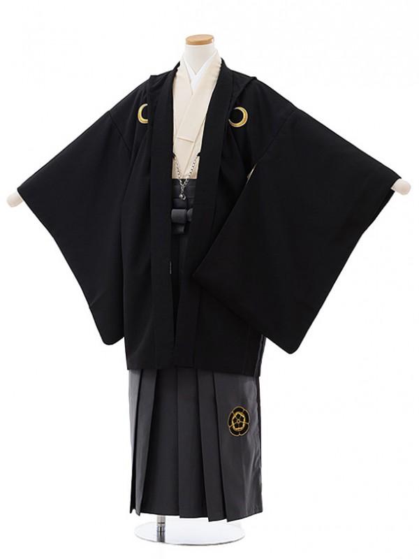 ジュニア袴男児J005 KukkaBOY アイボリー紋付×グレー袴