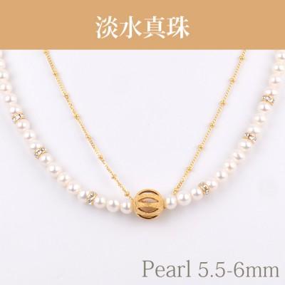 淡水真珠(5.5-6mm) ゴールドデザインNE 029