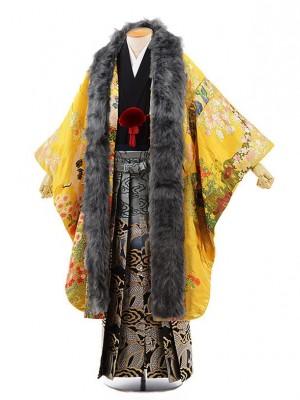男性用袴men0071 黒地に風 紋服 イエローにゴールド花車(L)