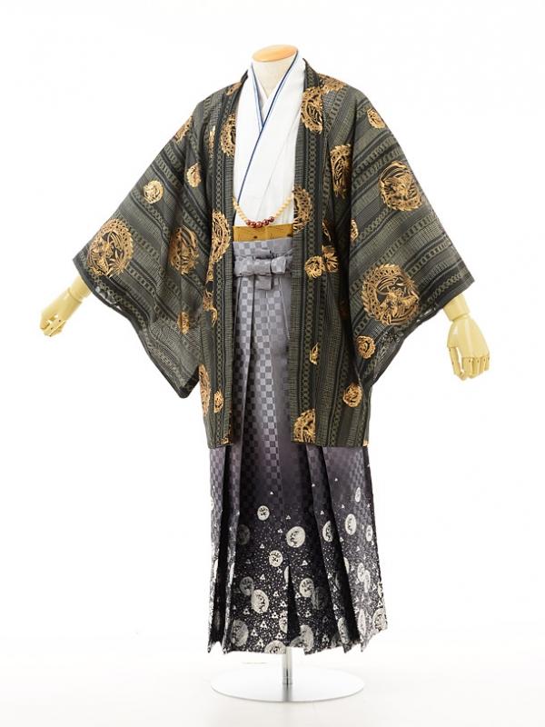 夏男性用袴men0013黒小紋白×龍ラメ(M)