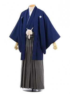 男性用袴men0066紺地 菱 紋付×紺ライン袴(S)