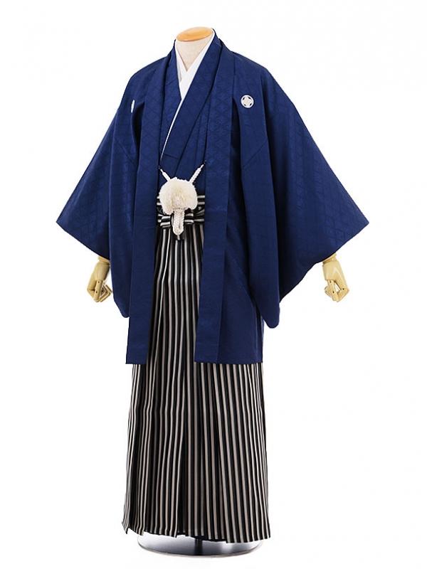 男性用袴men0066黒地 菱 紋付×紺ライン袴(S)