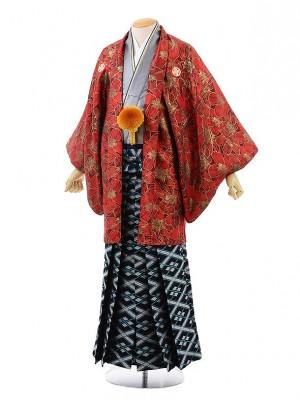 男性用袴men0114赤地花×黒シルバー菱花