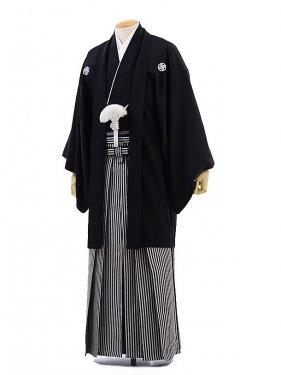 男性用袴レンタル men0006黒紋付×白黒縞(S)/成
