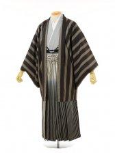 男性用袴men0038 黒縞グレー×白黒ぼかしラメ(L