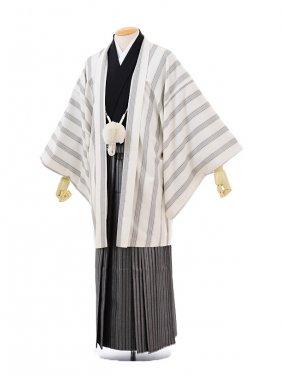 男性用袴men0050 白ストライプ×黒シルバー袴(L)