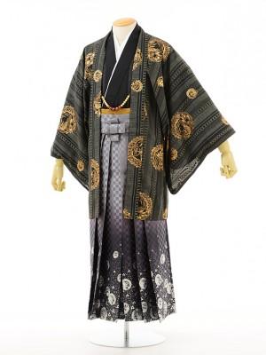 夏男性用袴men0015黒小紋黒×龍ラメ(M)