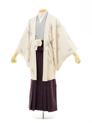男性用袴men0051 アイボリー梵字×紫袴(S)