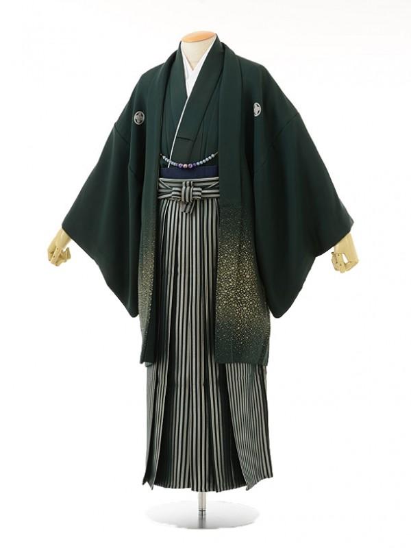 男性用袴men0032グリーンラメ紋付×グリーンラメ縞(L)