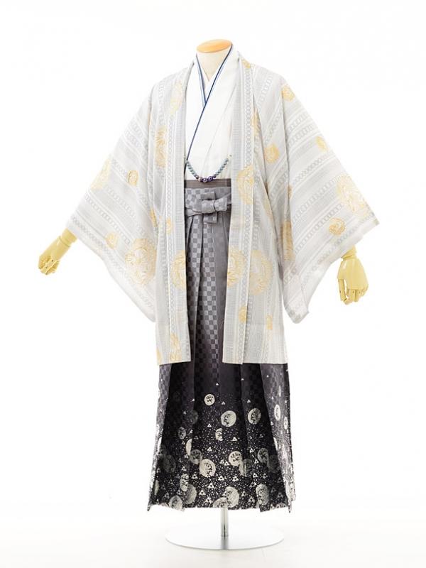 夏男性用袴men0014白小紋白×龍ラメ(M)