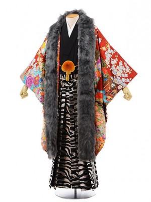 男性用袴men0069 黒地に風 紋服 赤 御所車にぼたん(L)
