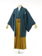 男性用袴men0036ブルーグリーン紋付×からし袴(M
