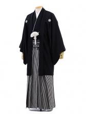 男性用袴レンタル men0006黒紋付×白黒縞(M)/成