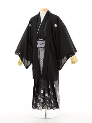 夏男性用袴men0012黒紋付×龍ラメ(S)