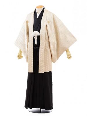男性用袴men0081 クリームゴールド 紋付×黒 (M)