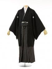 男性用袴men0033黒ラメ紋付×黒ラメ縞(M)