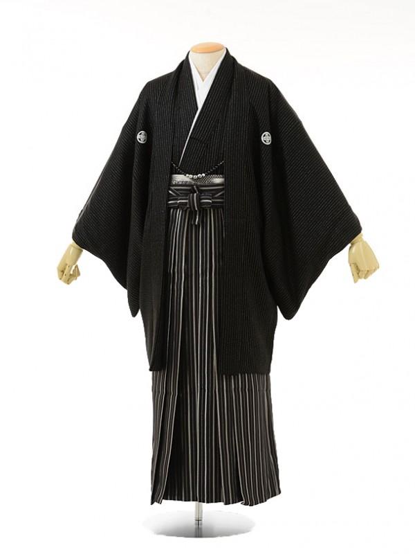 男性用袴men0033黒ラメ紋付×黒ラメ縞(L)