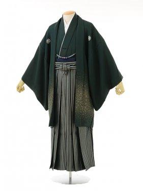 男性用袴men0032グリーンラメ紋付×グリーンラメ縞(M)