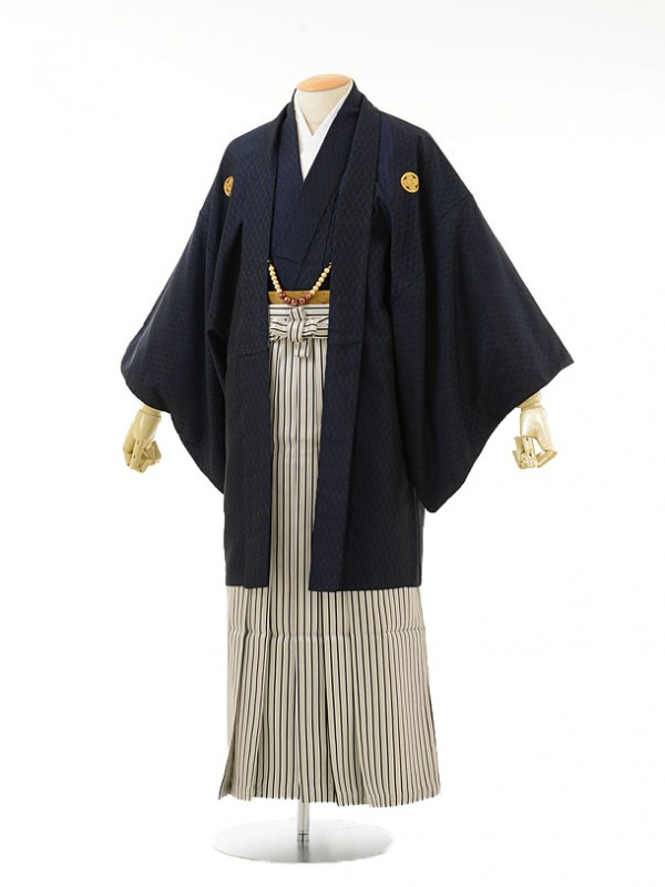 男性用袴men0034紺ラメ紋付×白黒ラメ縞(S)