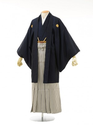 男性用袴men0034紺ラメ紋付×白黒ラメ縞(L)