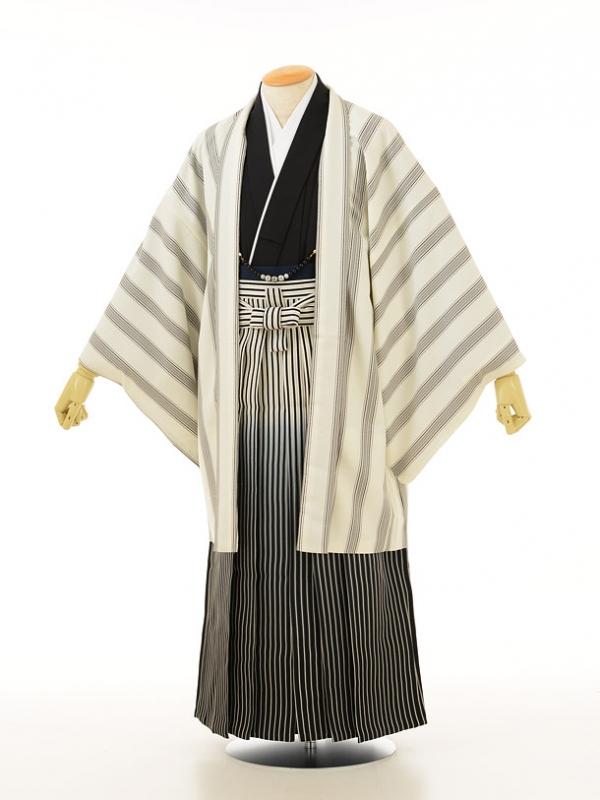 男性用袴men0039 白縞黒×白黒ぼかしラメ(L)