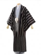 男性用袴men0052 黒ストライプ×シルバー袴(L)