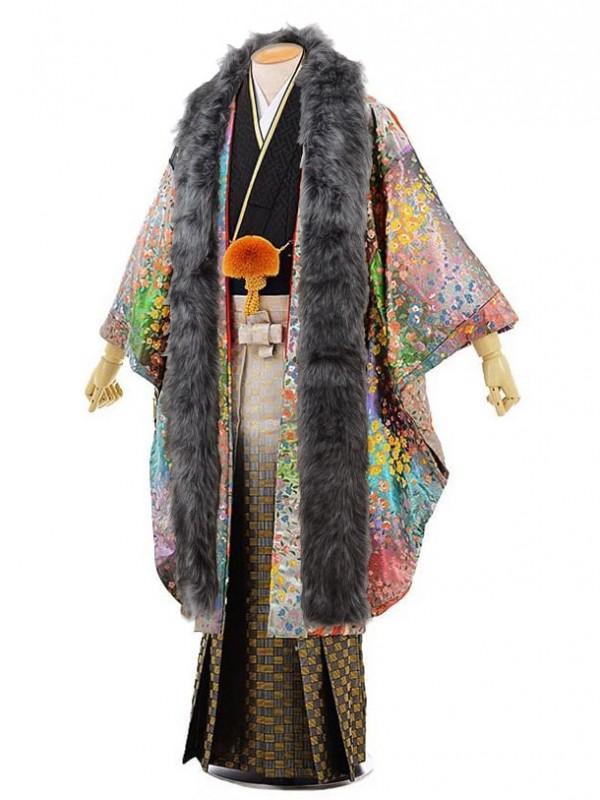 男性用袴men0059レインボーカラーに鳳凰×黒地 紗綾型 紋服(L)