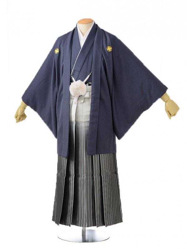 男性用袴レンタル men0005濃グレー×白銀黒ぼかし