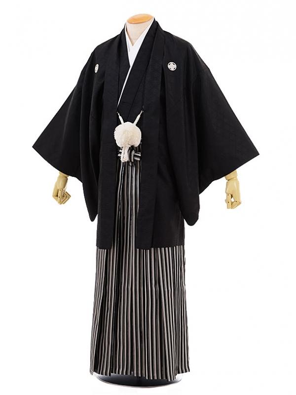 男性用袴men0064黒地 菱 紋付×黒ラメ ライン袴(S)