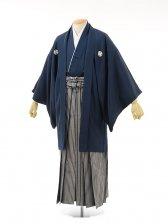 男性用袴men0037紺紋付×紺ラメ縞(L)