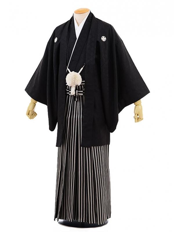 男性用袴men0065黒地 菱 紋付×黒ラメ 袴(L)