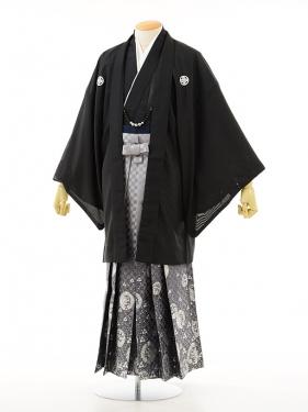 夏男性用袴men0016黒紋付×龍ラメ(L)
