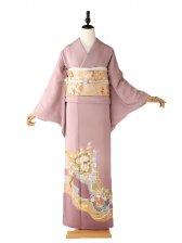 色留袖5134鶴と桜柄 アズキ色