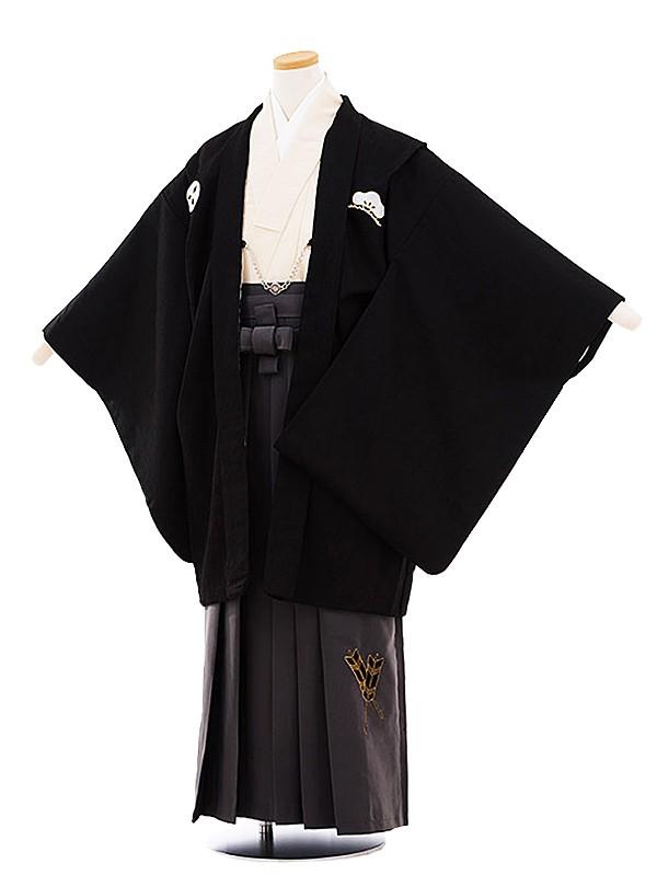 ジュニア袴男児 小町Kids 黒紋付×グレー袴ck13