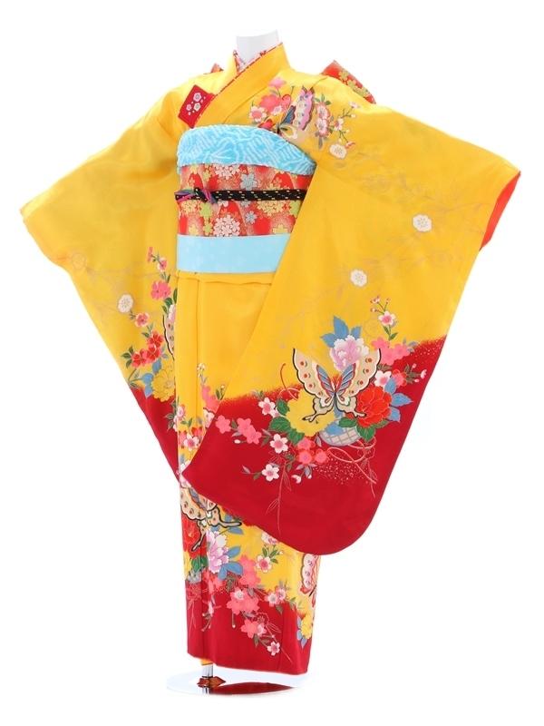 七五三(7歳女児)122黄色/蝶柄