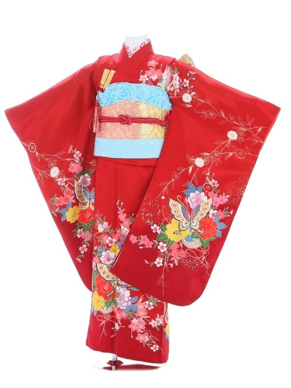 七五三(7歳女児)130赤/桜花に蝶