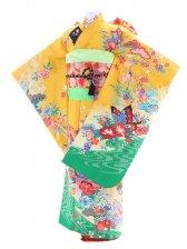 七五三(7歳女児)58黄色に裾グリーン かの子 蝶
