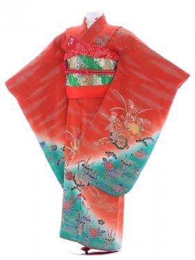 七五三(7歳女児)47朱色金粉たたきに裾グリーン