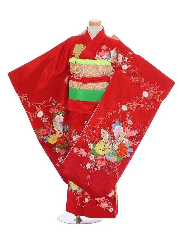 七五三(7歳女児)128赤/桜花に蝶