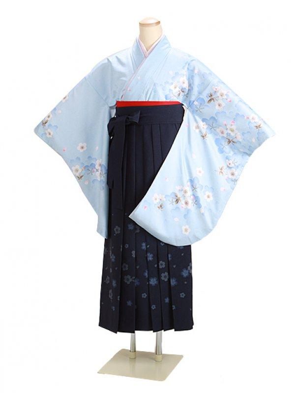 卒業式袴 ブルー 桜重ね 0272 柄袴【身長155cm位】